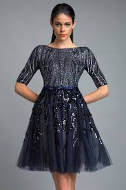 instyle new york d6026a navy 3 4th sleeve cocktail dress