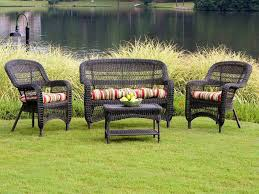Dark Brown Wicker Patio Furniture by Tortuga Portside Dark Roast Wicker Conversation Set Ps4s Darkroast