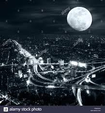 futuristic night aerial view panorama of bangkok skyline at full