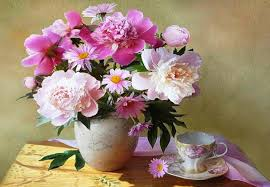 Peony Floral Arrangement by Flower Peonies Vase Still Life Flowers Porcelaine Pink Scent
