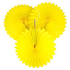 5 yellow tissue paper fan decorations pipii