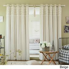 Yellow Grommet Curtain Panels by Aurora Home Floral Lace Overlay Thermal Insulated Blackout Grommet
