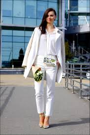 women u0027s white coat white silk dress shirt white skinny pants