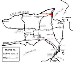 peninsula michigan map paradise michigan map showing location in the peninsula
