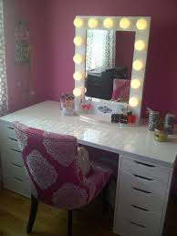 Bedroom Makeup Vanity With Lights Bedrooms Narrow Makeup Vanity Table With Storage Under Gl Top