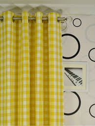 Yellow Grommet Curtain Panels by Moonbay Small Plaids Grommet Cotton Extra Long Curtains 108 120