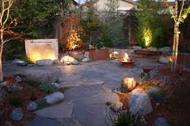 exterior design pictures of backyard waterfalls with bench