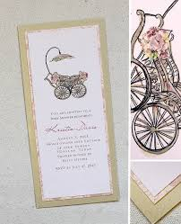 vintage baby shower invitations light pink and gold vintage baby carriage shower