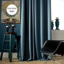 Navy Window Curtains Solid Faux Linen Plain Blackout Curtains For Living Room Modern