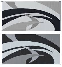 Outdoor Rv Rugs by Amazon Com Reversible Mats 159181 Black White 9 U0027x18 U0027 Swirl