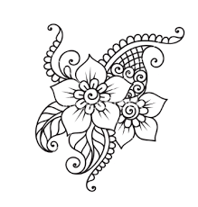 handdrawn abstract henna mehndi flower ornament vector by iktash
