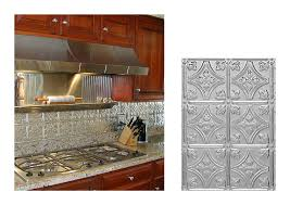 tin backsplashes for kitchens decorating faux tin backsplash with kitchen shelf and butcher