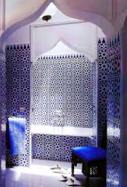 moroccan style bathroom in sapphire blue and white mosaic tiles
