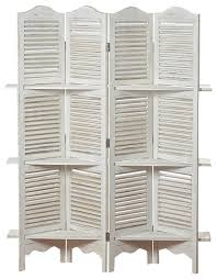 White Room Divider - 6 u0027 stockbridge room divider with 4 panel 3 shelves and louvered
