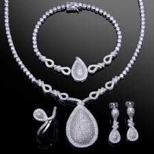 white gold necklace set images Ladies jewelry set white gold color cubic zirconia charm jpg