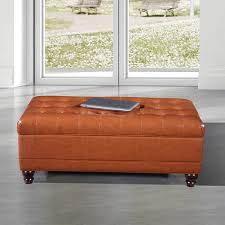 Storage Bench Ottoman Luxury Comfort Collection Classic Saddle Brown Tufted Storage