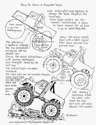 monster trucks drawings how to draw worksheets for the young artist how to draw a monster