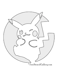 Printable Pumpkin Patterns by Pokemon Pikachu Stencil 03 Free Stencil Gallery