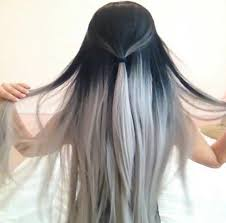 black grey hair black and grey hair hairstyle long pretty white image