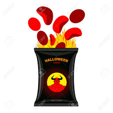 halloween food clip art hellish chips for halloween packing snacks with satan hellfire