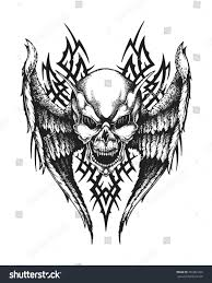 winged skull tribal ornament stock vector 391061269