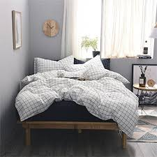 mucalis two side grid black lines white cotton bedding set 3pc
