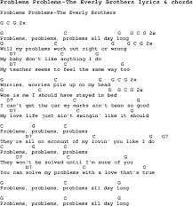 love song lyrics for problems problems the everly brothers with