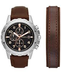 fossil steel leather bracelet images Fossil men 39 s chronograph dean dark brown leather bracelet and jpeg