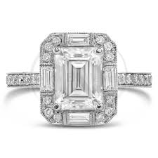 vintage emerald cut engagement rings emerald cut moissanite antique style diamond engagement ring with