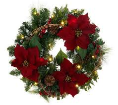 bethlehem lights battery op 24 poinsettia wreath page 1 qvc