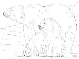 polar bear with baby coloring page free printable coloring pages