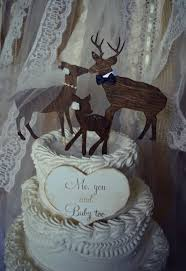 buck doe and fawn wedding cake topper family wedding cake