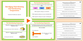 identifying subordinating and coordinating connectives teaching