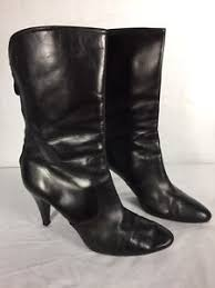 s boots calf size cole haan s black mid calf zip up high heel boots size 8b ebay