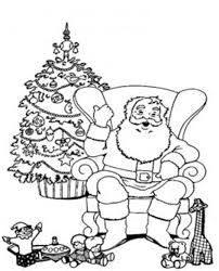 santa relaxing in a chair christmas coloring pages for kids