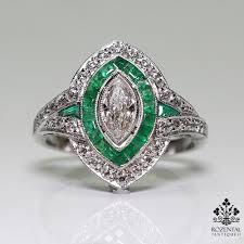emerald antique rings images Antique art deco platinum diamond emerald ring rozental antiques jpg