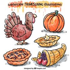 painted thanksgiving illustrations vector free