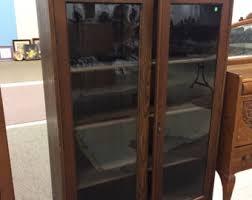 Antique Oak Bookcase With Glass Doors Antique Bookcase Etsy