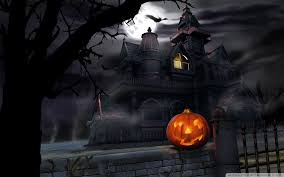 halloween background moon spooky house bats pumpkin full moon hallowmas halloween hd desktop