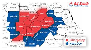 map of atlanta metro area metro atlanta service area map all south inc