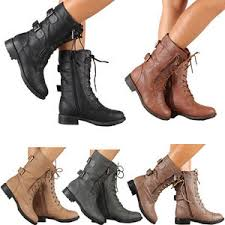 womens combat boots lace up buckle fashion boot