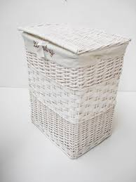Clothes Hampers With Lids Round White Wicker Hamper With Lid