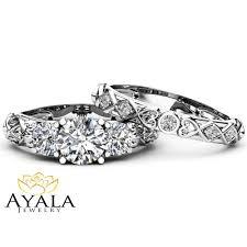 unique stone rings images Unique three stone moissanite bridal set 14k white gold rings jpg
