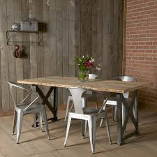 dining room rustic industrial dining table with fiber chairs and