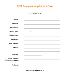 employee application template 9 free word pdf documents