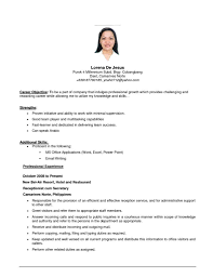Medical Office Secretary Resume Cover Letter Resume Objective Examples For Receptionist Resume