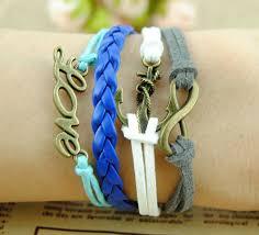 braid hand bracelet images Fashion charm bracelet anchor ring endless love infinity female 37848