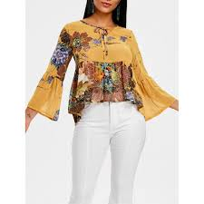 yellow blouse wholesale floral print bell sleeve high low blouse in yellow m