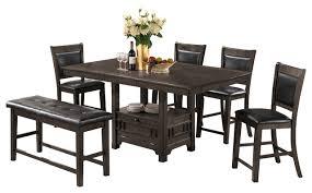 adrianna 6 piece storage table set gray transitional dining