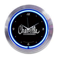 Chevy Home Decor Chevrolet Chevelle Script Neon Clock Classic Car Clocks